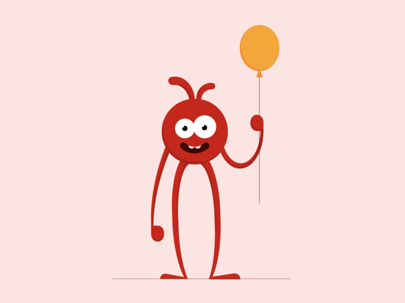 Doodling holding a balloon illustration art illustration vector art vector css drawing css art css3 css character cartoon