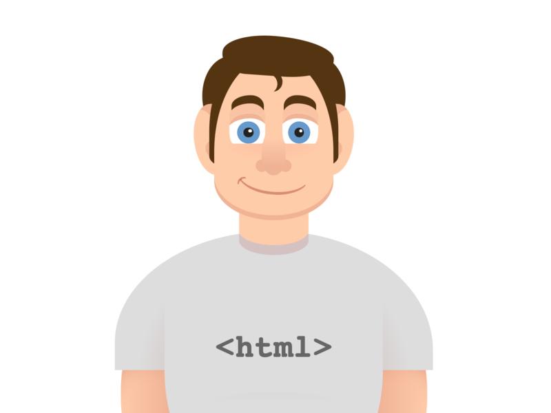 Cartoon character (2) code t-shirt tshirt man person vector html5 html html css css art css drawing css3 css illustration