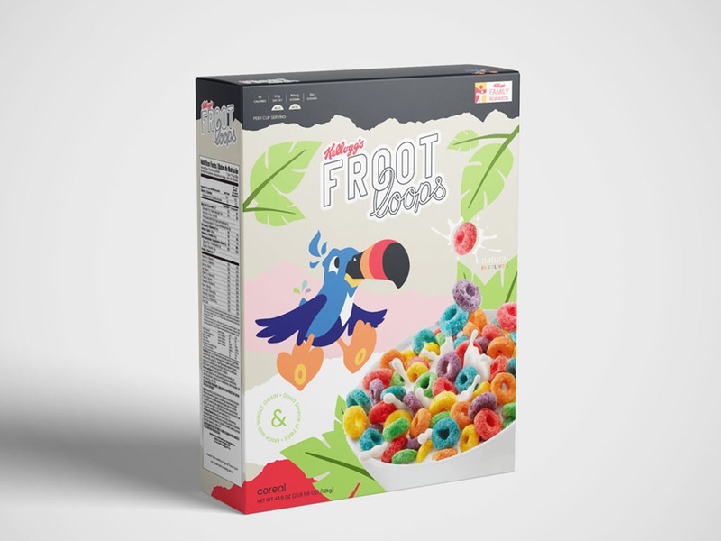 froot loops — cereal box branding redesign illustration concept mockup kellogg froot loops cereal packaging package design character design logo design