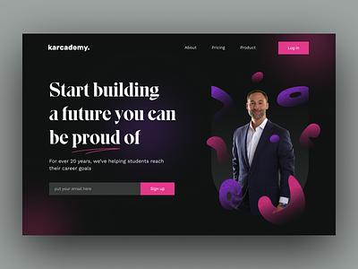 Karcademy: online course header exploration ux ui clean header landing page design school academy online course web design website