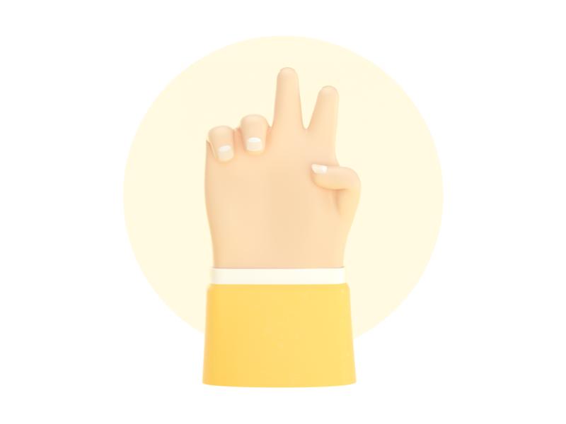 Hand 3d illustration design