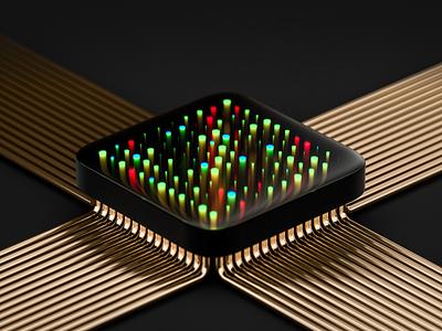 Core blender data servers core technology 3d render illustration design