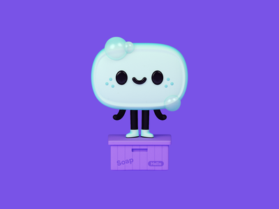 Soapbox bar logo ui app box soap character 3d illustration design