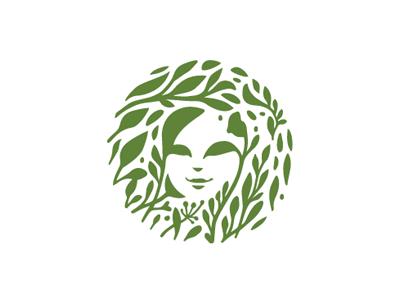Logo organic face woman floral
