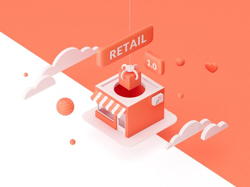 Retail 1.0 3d design shop shopping retail illu