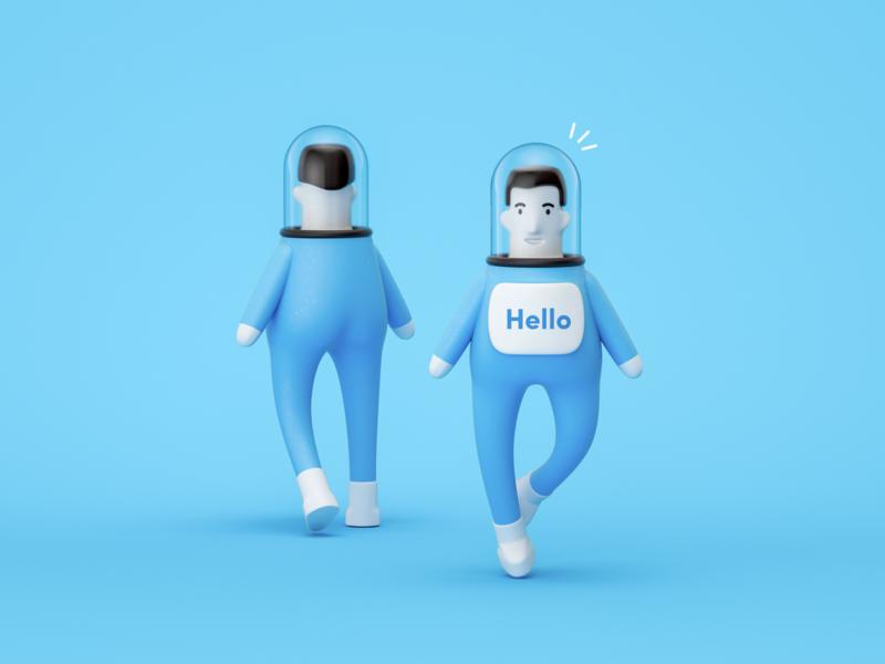 Astronauts concept characer 3d model design illustration