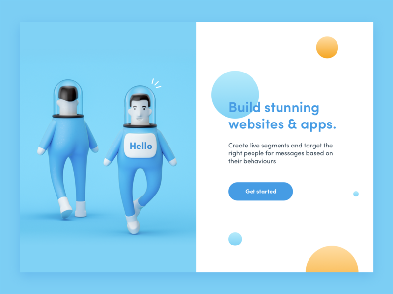 Page concept web ux ui 3d illustration design