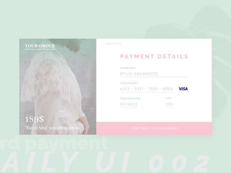Daily UI 002 - Card checkout visa buy purchase payment pay credit card card checkout process checkout checkout form checkout page web illustration ux ui form design daily ui dailyui 100daychallenge