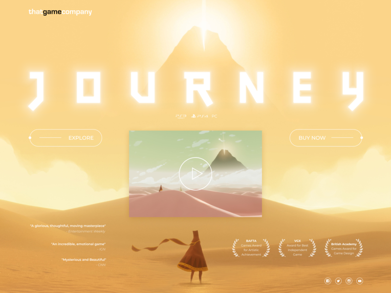 Daily UI 003 - Landing Page journeygame journey landing page landingpage challenge designchallenge website design webdesign website game thatgamecompany uiconcept web ux ui design daily ui dailyui 100daychallenge