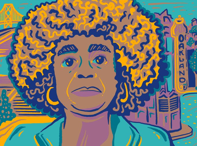 Angela Davis illustration editorial portrait curly history black california oakland