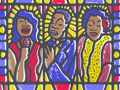 Black Bottom Saints editorial saints stained glass illustration detroit african american history black
