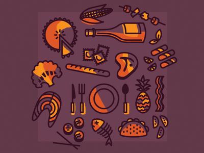 Restaurant Week icons icons vegetables meat appetizers dessert wine food restaurant