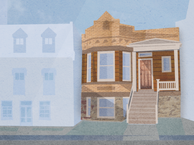 Grandma's House house bungalow city puppet backdrop texture brick urban chicago collage