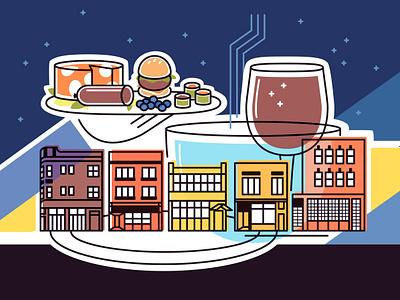 Sunnyside and Lincoln serving platter restaurants buildings wine food stroll urban city chicago