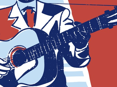Muddy Waters folk red white and blue acoustic chicago blues guitar music vintage texture
