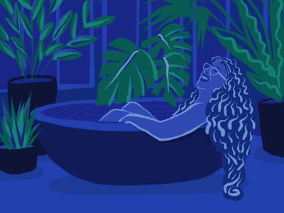 In the bath greek hair glasses spa plants relaxation bath