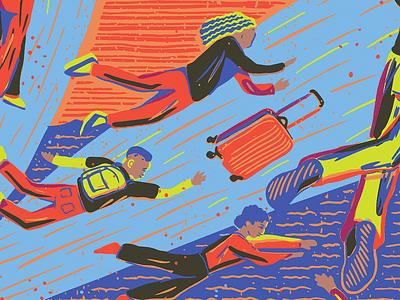 Black Exodus people black chicago flying illustration editorial