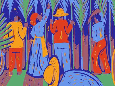 Sugar Land workers texas editorial farmers slavery sugar sugarcane illustration