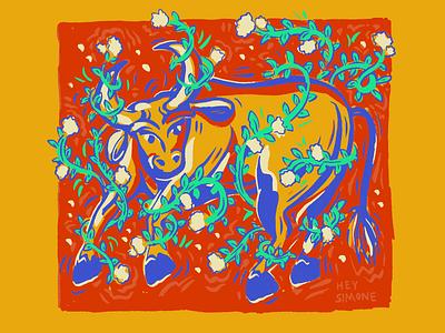 May Baby Bull illustration vines animal astrology earth sign bull taurus