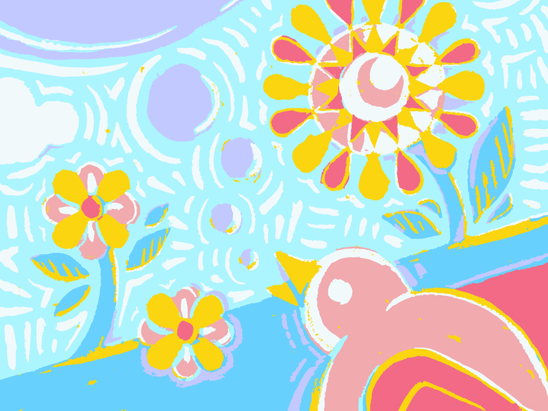 Baby folk bird baby birthday summer flowers bird spring