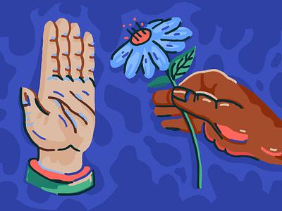 An offering race flower hands illustration spot