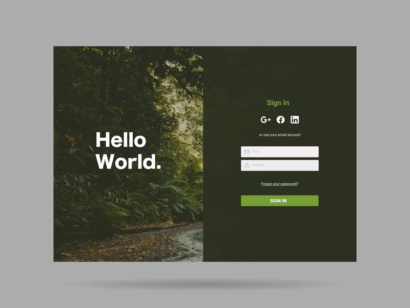 Hello World branding login design login screen login web design ux ui