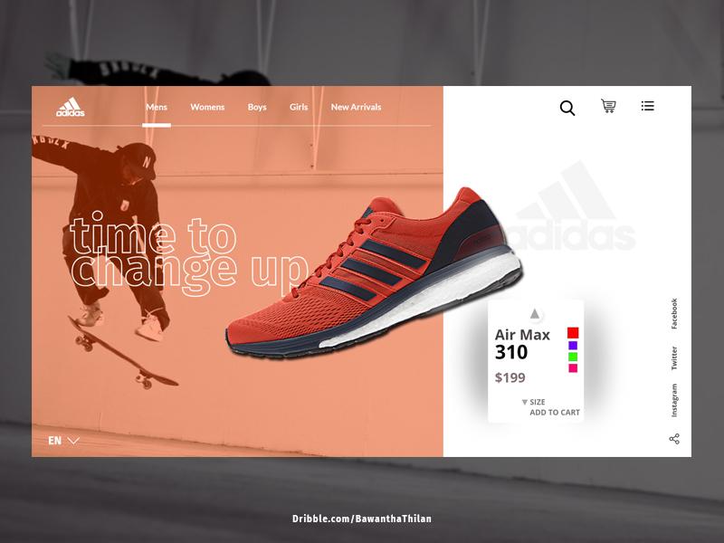 Adidas shoes adobexd webdesign prototype uidesign