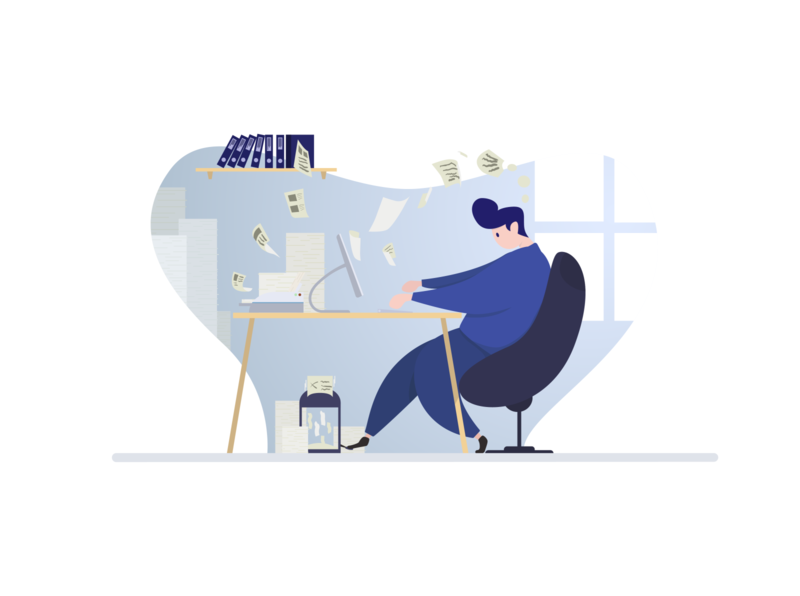 Working man working progress working process working space office ideas illustration illustrator texting paper workspace work working