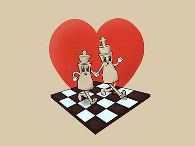 Love & Chess heart love chess retro cartoon character character cartoon vintage illustration