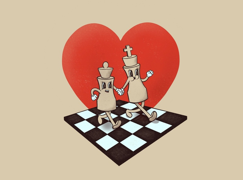 Love & Chess heart love chess retro cartoon character character cartoon vintage illustration