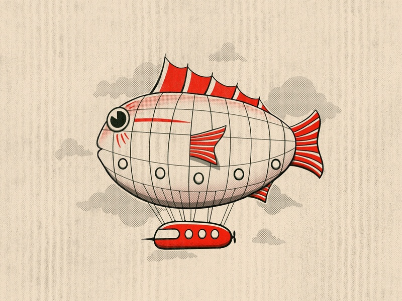 Fishy blimp netflix truegrit studio ghibli anime sails clouds sky flying baloon blimp fish 1930s retro cartoon vintage illustration