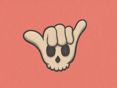Shaka Nah glove skull shaka surfing true grit distressed vintage cartoon illustration