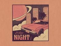 Hollow Night's true grit cadillac cityscape planet miami design retro vintage illustration