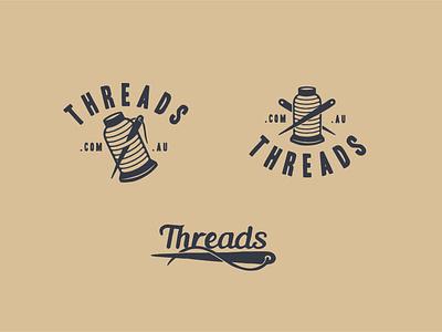 Threads hand drawn needles embroidery vintage logo retro logo typography vector logo branding retro vintage