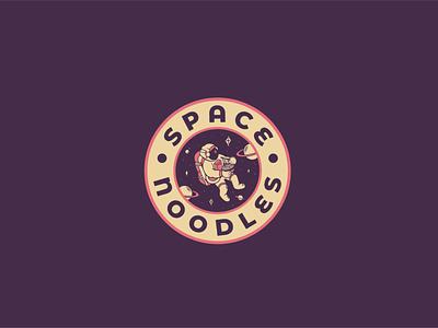 Space Noodles fast food astronaut design vector logo food logo design food logo space spaceman noodles branding illustration