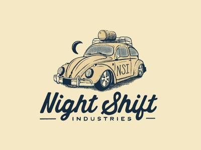 Night Shift Beetle design hand lettered vintage logo car logo vintage car bug vw beetle volkswagen branding retro vintage illustration