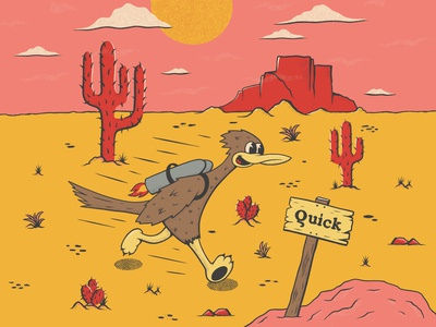 Quick Boi hand drawn cactus illustration character retro cartoon character cartoon vintage illustration cacti cactus road runner desert