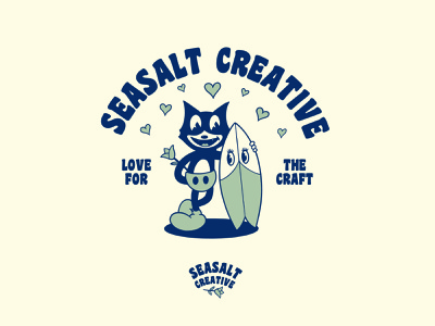 Love for the craft vintage cartoon vintage cartoon character cartoon illustration surfboard surfing cat tshirt tshirtdesign tshirt design