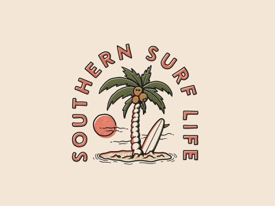 Southern surf life hand drawn desert island palms longboard palm tree surf surfing branding logo retro vintage illustration