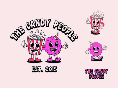The Candy People fast food food truck candy floss popcorn candy cartoon character illustration cartoon vintage logo branding retro character