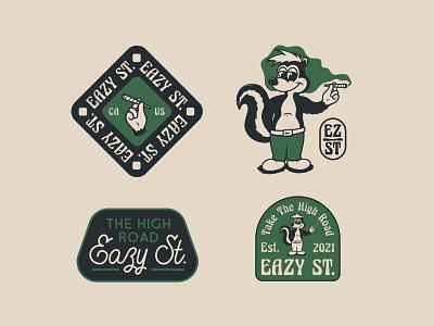 Eazy Street smoke weed cannabis skunk logo design design branding character cartoon character retro cartoon vintage illustration
