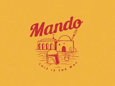 I have spoken. old logo retro logo vintage logo baby yoda yoda mandolin starwars mandolorian retro design logo vintage illustration