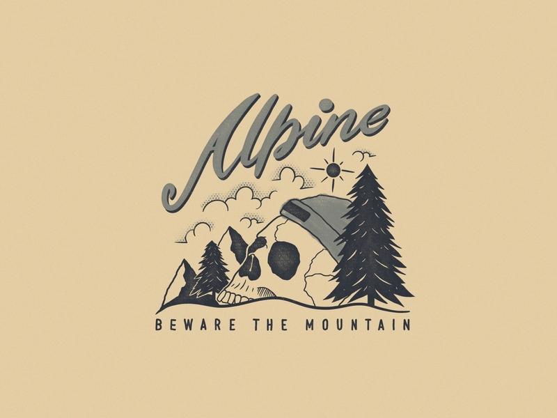 Alpine design skull alpine alps mountian alpine logo mountain logo vintage logo retro logo branding retro logo vintage illustration