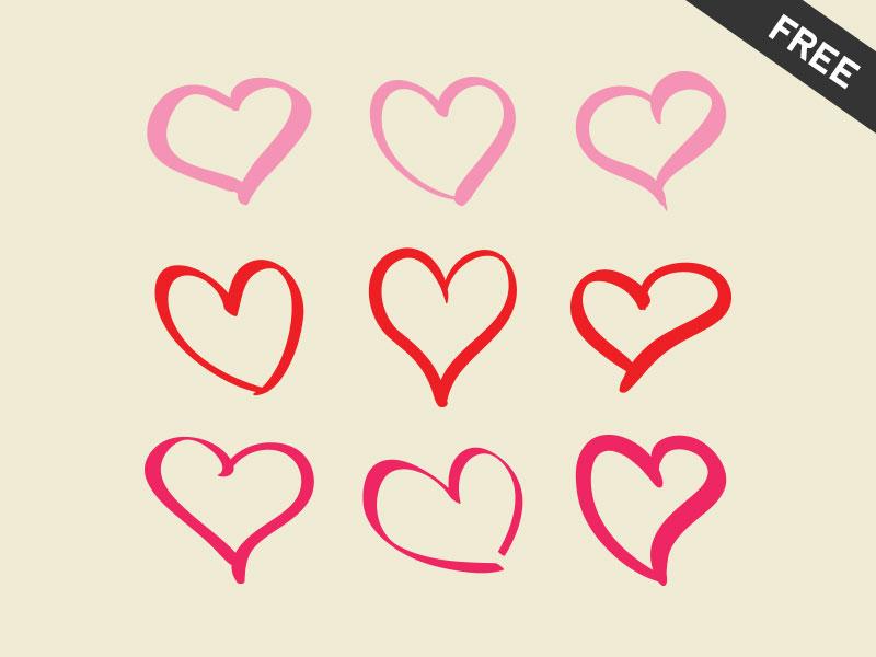 9 Hearts Freebie  heart valentine love friend hand drawn free freebie vector