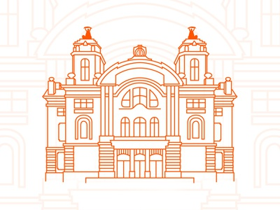 Cluj National Theatre illustration lineart building theatre cluj