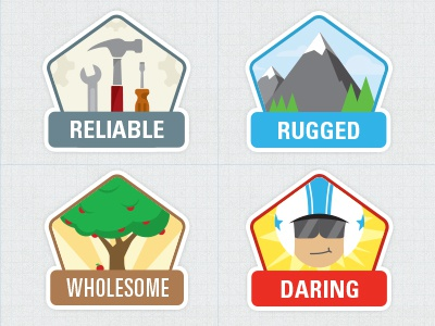 Personality Badges freshthrills badge sticker tools gears hammer screwdriver wrench reliable rugged mountain tree apple wholesome daring helmet