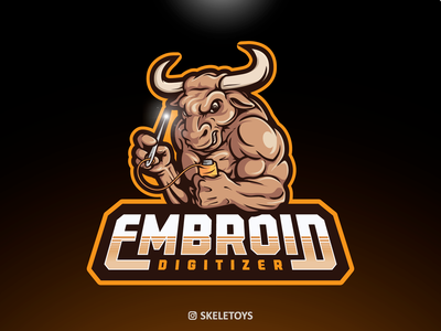 EMBROID DIGITIZER mascot character vector streamer design character mascot cartoon logo illustration brand embroider bulls