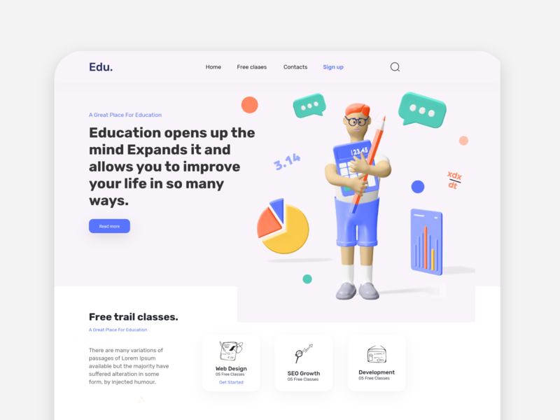 EdU- Education Landing Page V2 ux design 2020 trend designs learning website uidesign uxdesign web ui kit webdesign 3d illustration full time job ui ux illustration e-commerce website landing page dribbbble creative design design education landing page landing page concept