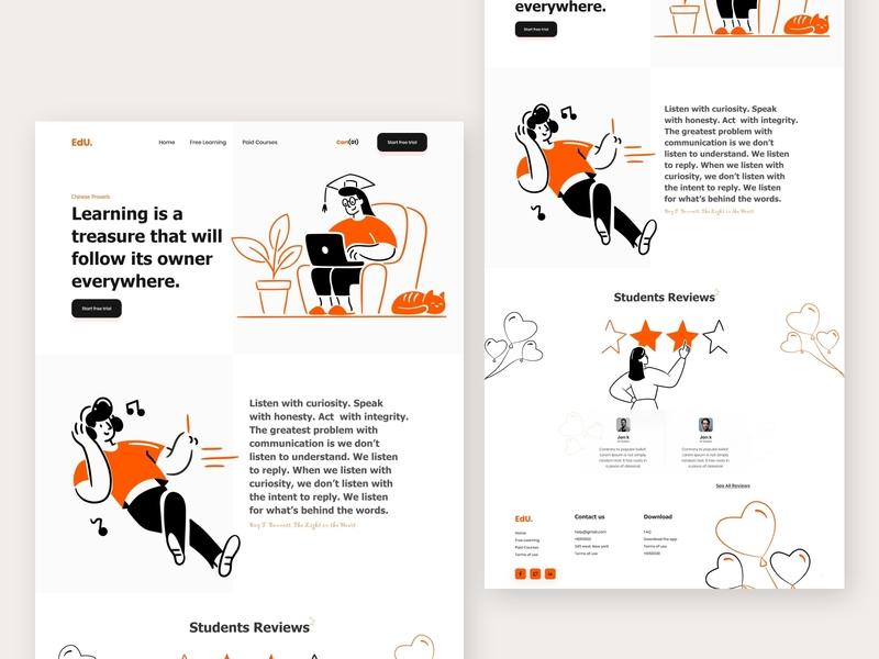 EdU- Education Landing Page V3 2020 trend webdesign learning platform illustration e-commerce website graphic design creative design landing page dribbbble ui ux landing page concept design education landing page