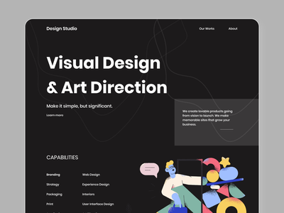 Dark Web Page webdesign dark theme landing page 2020 trend art designs agency website web ui design ui ux illustration creative design landing page concept design dark web page dark web page